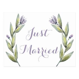 Purple Just Married Watercolor Flowers Leaves Postcard