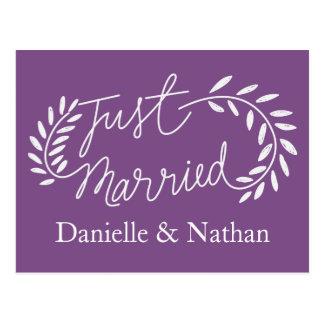 Purple Just Married White Laurel Leaves Wedding Postcard