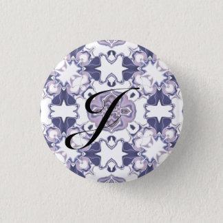 Purple Kaleidoscope Pattern #1 Monogram 1 Inch Round Button