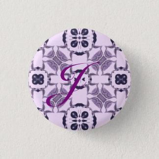 Purple Kaleidoscope Pattern #2 Monogram 1 Inch Round Button