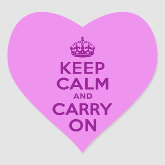 Purple Keep Calm and Carry On Heart Sticker