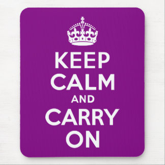 Purple Keep Calm and Carry On Mouse Pad