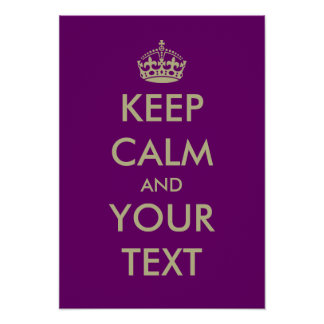 Purple keep calm poster template | Customizable