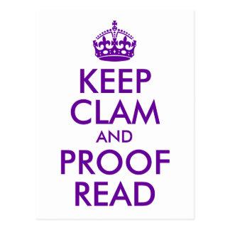 Purple Keep Clam and Proof Read Postcard