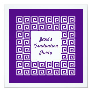 Purple Key Pattern Grad Party Invitation