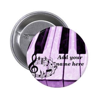 Purple Keys & Music Notes_ 2 Inch Round Button