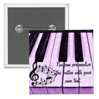 Purple Keys & Music Notes_ 2 Inch Square Button