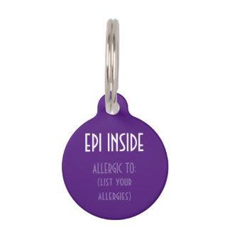 Purple Kids Epi Inside Emergency Contact Allergy Pet ID Tag