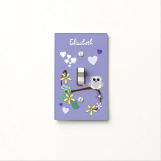 Purple Kids Owl Personalized name Light Switch Cover