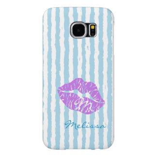 purple kissing lips-Monogram design Samsung Galaxy S6 Cases