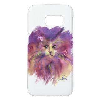 PURPLE  KITTEN,KITTY CAT PORTRAIT,White Samsung Galaxy S7 Case