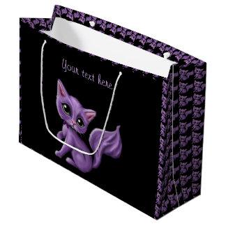 Purple Kitten on Black Large Gift Bag