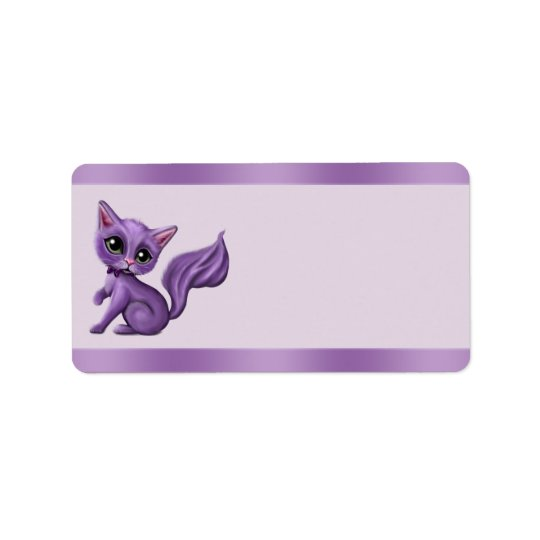 Purple Kitty Address Labels