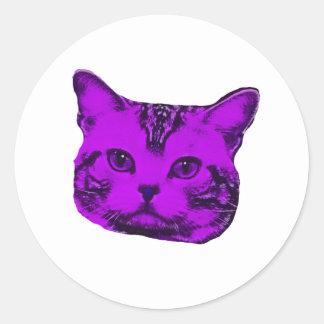 Purple Kitty Classic Round Sticker