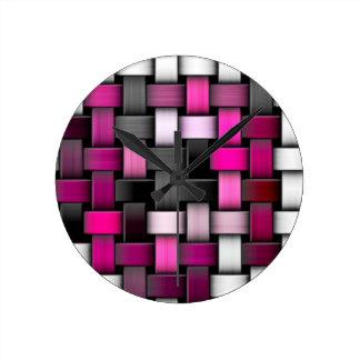 Purple knitted texture round clock