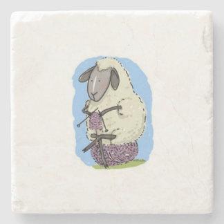 Purple Knitting Sheep Stone Coaster