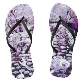 Purple Koi flip flops
