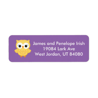 Purple labels with adorable yellow owl