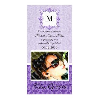 Purple Lace Damask Initial Graduation Photo Card