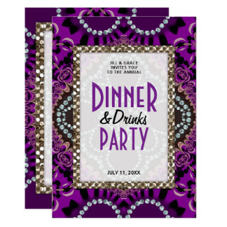 Purple Lace Glamour Dinner Drinks Party Card