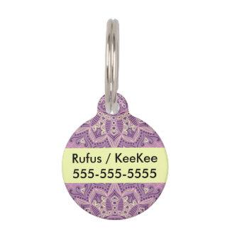 Purple Lace Pattern Pet Name Tag