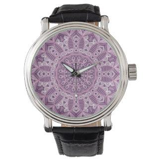 Purple Lace Pattern Wristwatch