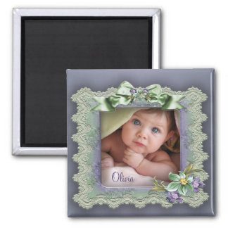 Purple Lace Photo Frame Baby Girl Birth Magnets