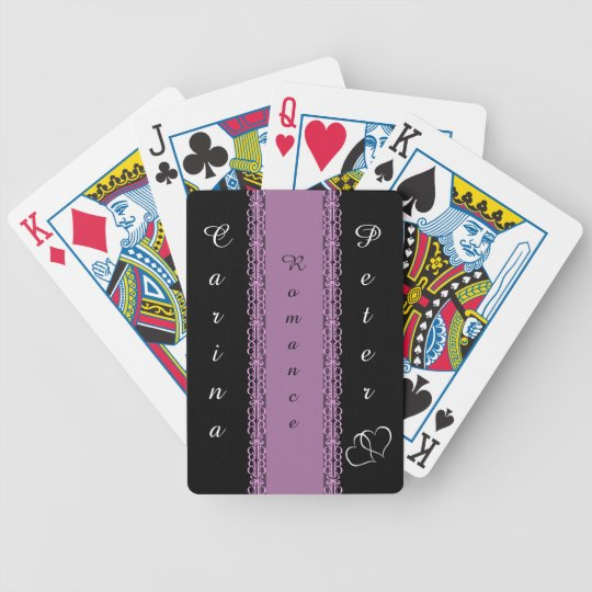 Purple laced Ribbon Romance Bicycle Playing Cards