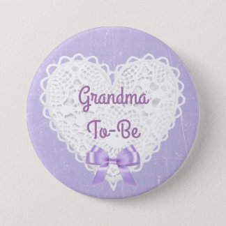 Purple Lacy Grandma-To-Be Baby Shower Button