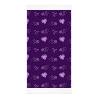 Purple ladybugs hearts bows pattern photo greeting card