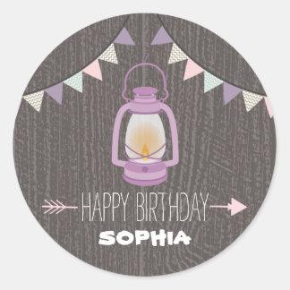 Purple Lantern Camping Birthday Sticker
