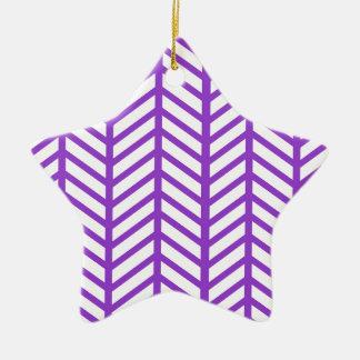 Purple Lattice Stripe Ceramic Ornament
