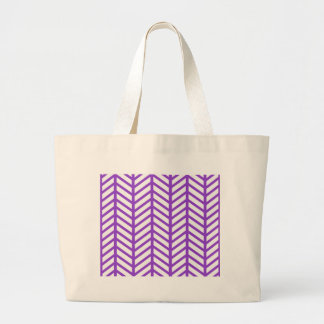 Purple Lattice Stripe Large Tote Bag