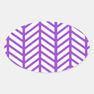 Purple Lattice Stripe Oval Sticker
