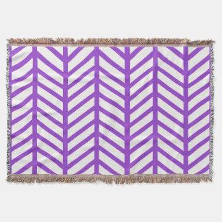 Purple Lattice Stripe Throw Blanket