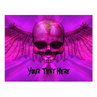 Purple Lava Burst Winged Skull Postcard