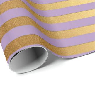 Purple Lavande Plum Gold Stripes Lines Elegant Wrapping Paper