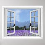 Purple Lavendar Meadow Garden View Fake Window Poster