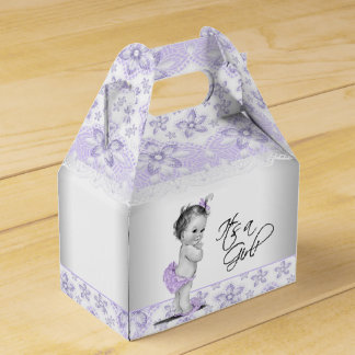 Purple Lavender and Gray Baby Shower Favor Box