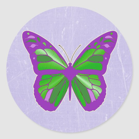 Purple, Lavender and Lime Green Butterfly Stickers
