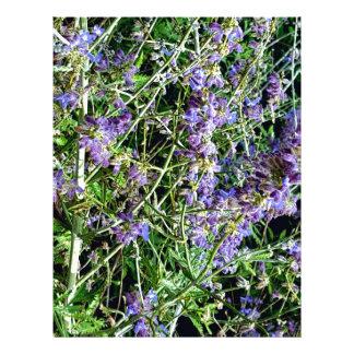 Purple Lavender Botanical Flowers. Letterhead