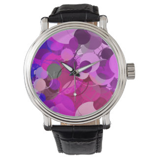 Purple Lavender Bubbles Abstract Watch