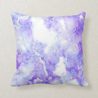 Purple Lavender Cloudy Marble Stone Throw Pillow