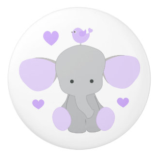 Purple Lavender Elephant Baby Girl Nursery Dresser Ceramic Knob