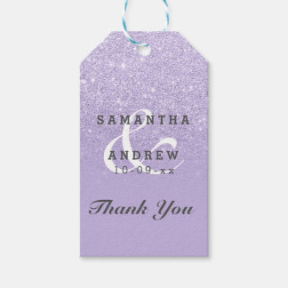 Purple lavender faux glitter ombre wedding favor pack of gift tags