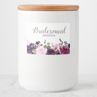 Purple Lavender Floral Boho wedding beverage label