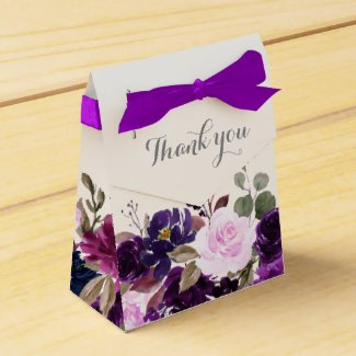 Purple Lavender Floral Boho Wedding Favour box