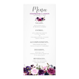 Purple Lavender Floral Boho Wedding menu