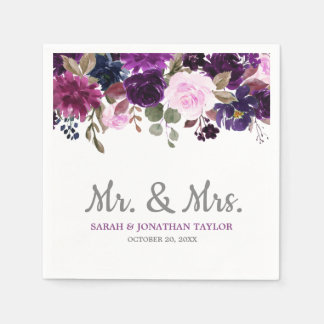 Purple Lavender Floral Boho Wedding Paper Napkin