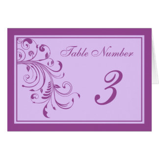 Purple & Lavender Floral Curls Wedding Table Cards